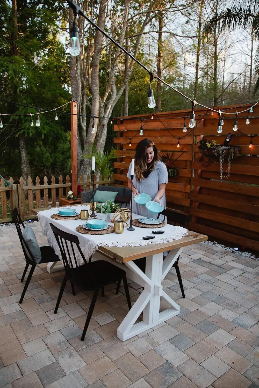DIY Outdoor Planter Box for Hanging String Lighting ... on Backyard String Lights Diy  id=75993
