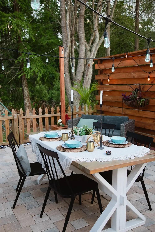 DIY Outdoor Planter Box for Hanging String Lighting ... on Backyard String Lights Diy id=53928