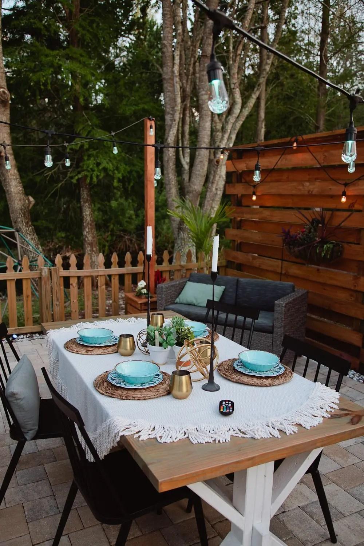 DIY Outdoor Planter Box for Hanging String Lighting ... on Backyard String Lights Diy  id=39577