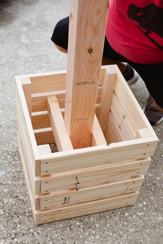 DIY Outdoor Planter Box for Hanging String Lighting ... on Backyard String Lights Diy  id=77746