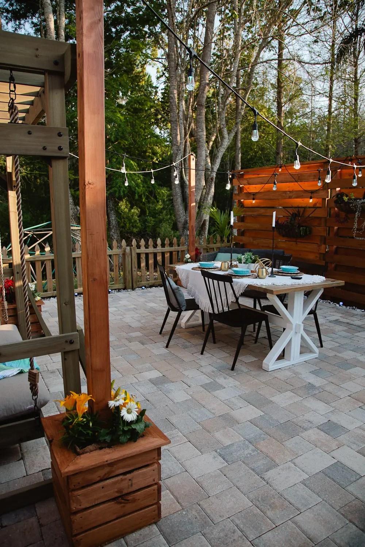 DIY Outdoor Planter Box for Hanging String Lighting ... on Backyard String Lights Diy  id=60897