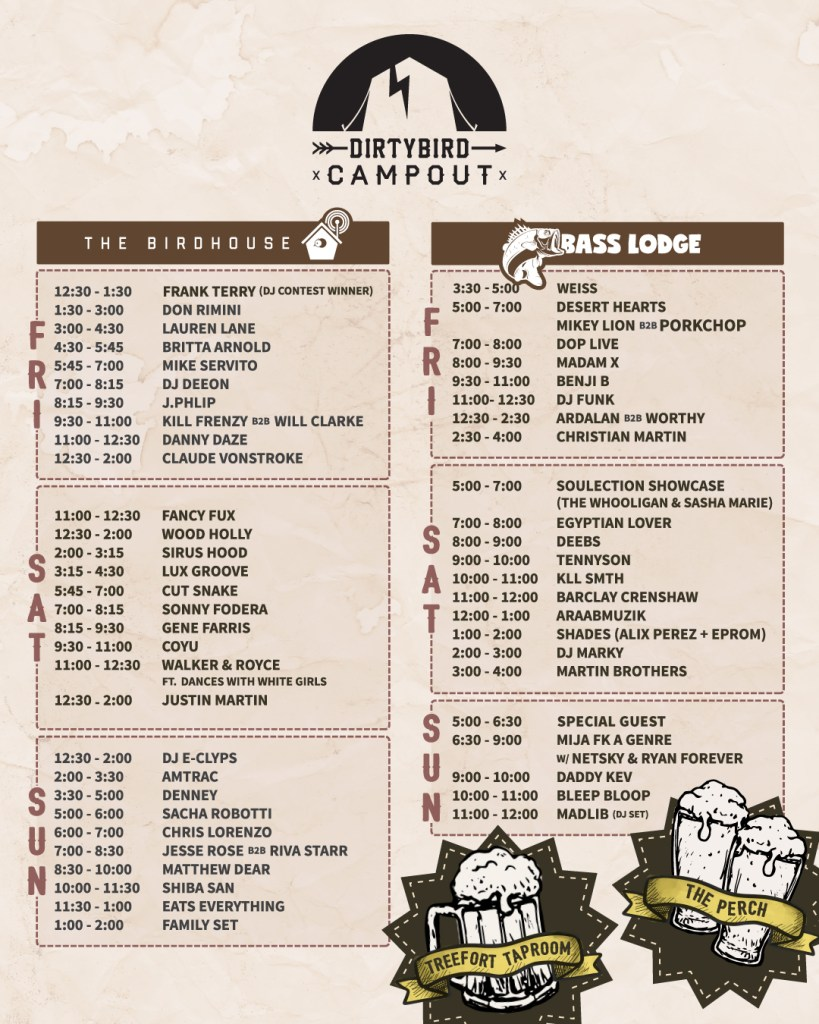 Dirtybird Campout Schedule Image