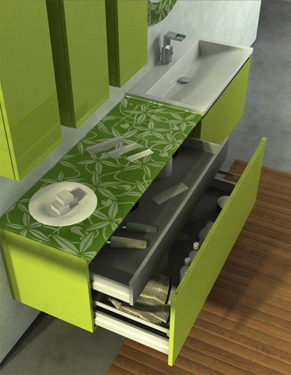 colorful bathroom vanity green bamboo 1 Orange and Green Bathroom Design from Duebi Italia