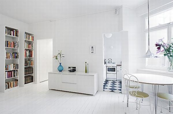 clean white small apartment interior design 9 554x368 Simple and Elegant White Apartment