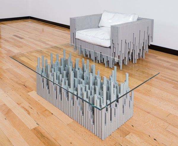 unusual material table chair Furniture made with odd and unusual materials by BRC Designs