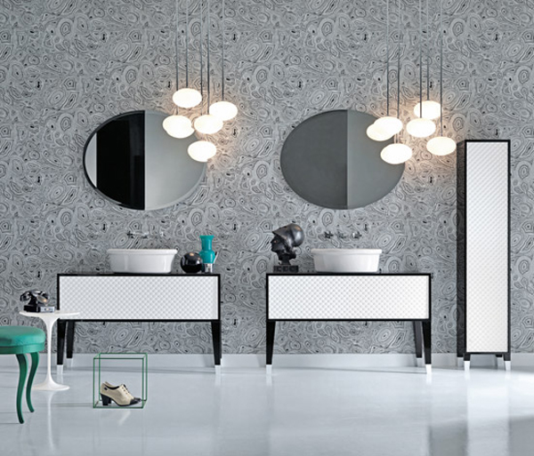 COCO Falper 4 Gorgeous Textured Bathroom Furniture in Black and White from Falper