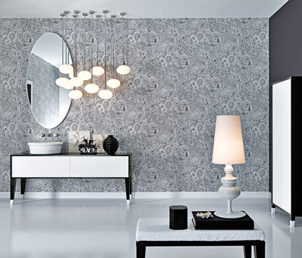 coco collection Gorgeous Textured Bathroom Furniture in Black and White from Falper