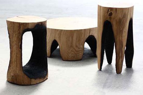 Outdoor Burned Wooden Furniture