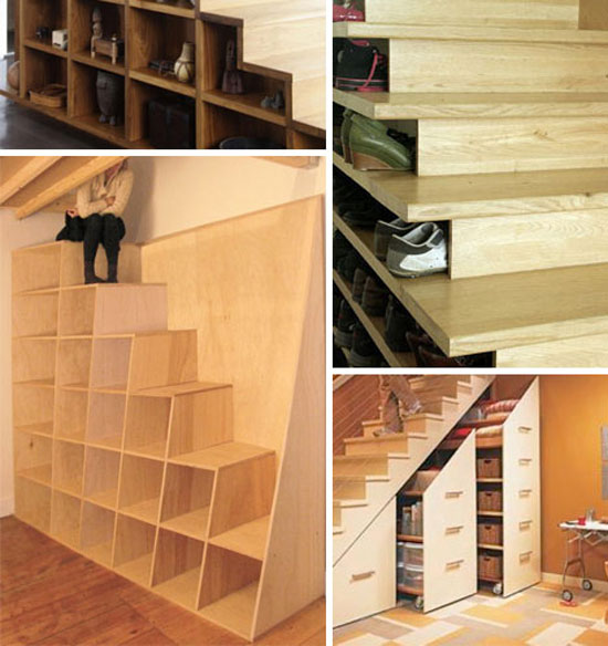 stairs storage combined home decor