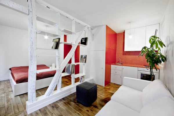 Surprisingly Small Apartment In Paris With A Charming Red And White Interior This Look Ottoman Couch Comforter