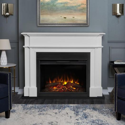 Colored Interior Trim and Molding White Fireplace