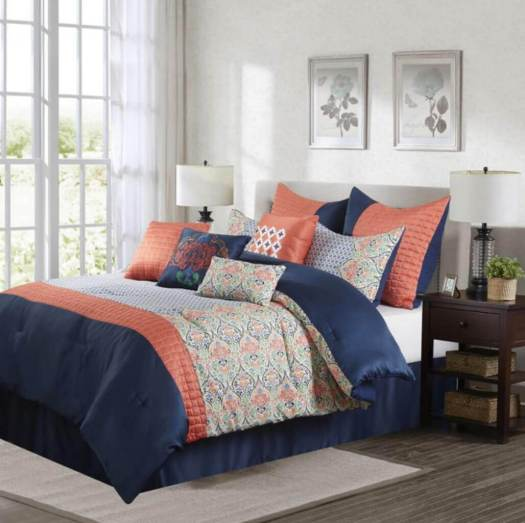 Navy Blue and Coral Bedroom