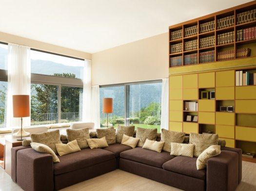 Living room with floor-to-ceiling bookshelves
