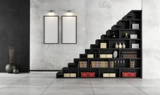 Home Library under stairs