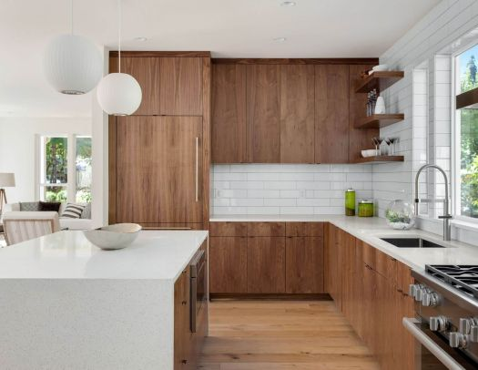 This style fits well in an open concept design.