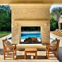 fireplace design in pool
