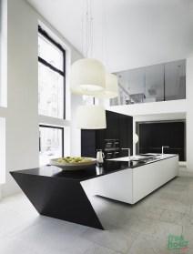 Angled black and white kitchen island