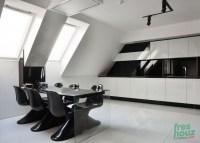 Futuristic black and white kitchen
