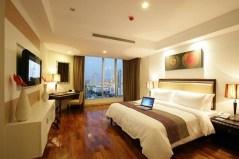 Luxury bedroom dark parquet