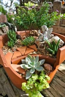 Fairy Garden On Broken Pot