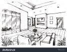 Hand Drawing Living Room Skecth