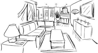 Perspective Living Room Sketch