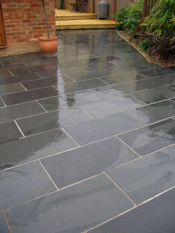 black slate tile outdoor patio black