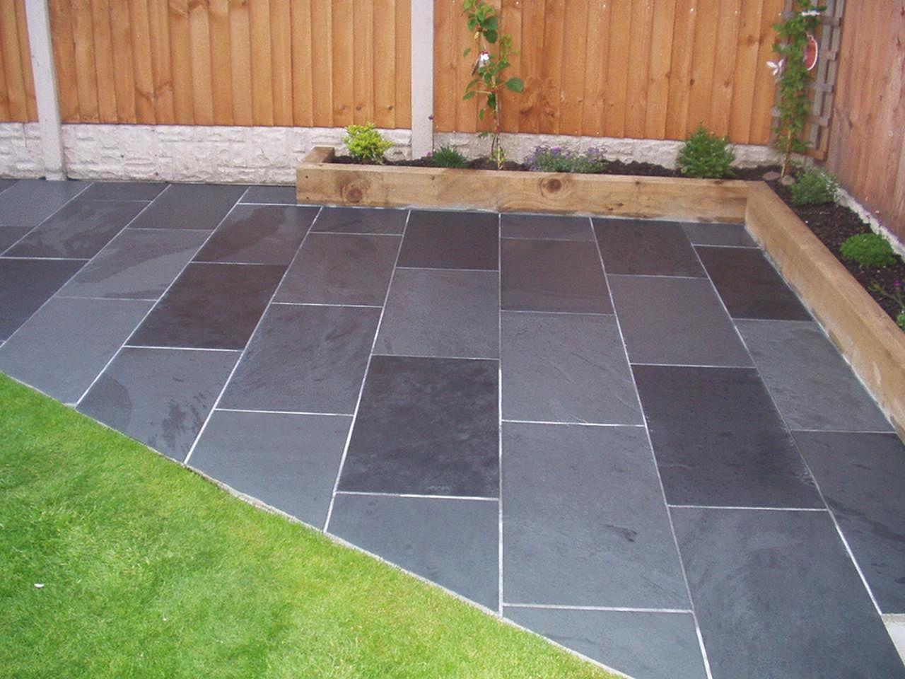 Black Slate Tile Outdoors Patio (Black Slate Tile Outdoors ... on Slate Patio Ideas id=20463
