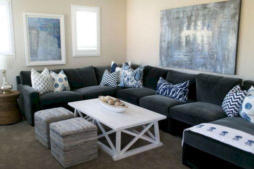 Dark Blue Gray Sofa With Pillow