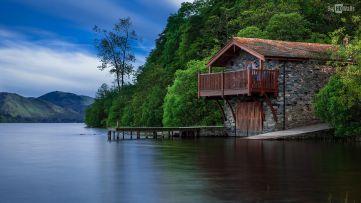 House Boat Lake Wallpaper HD Desktop