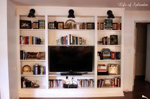 White Bookshelves With TV