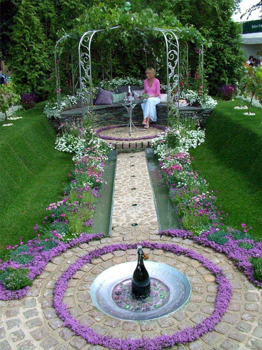 Flower Gardens With Fountains (Flower Gardens With ... on Home Garden Fountain Design id=66143