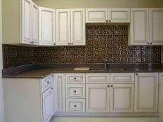 Tin Kitchen Backsplash With White Cabinets