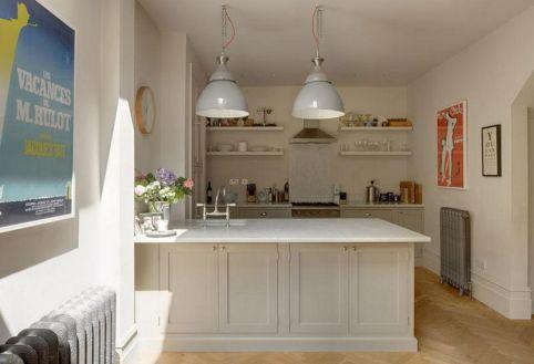 White Open Kitchen With Breakfast Bar
