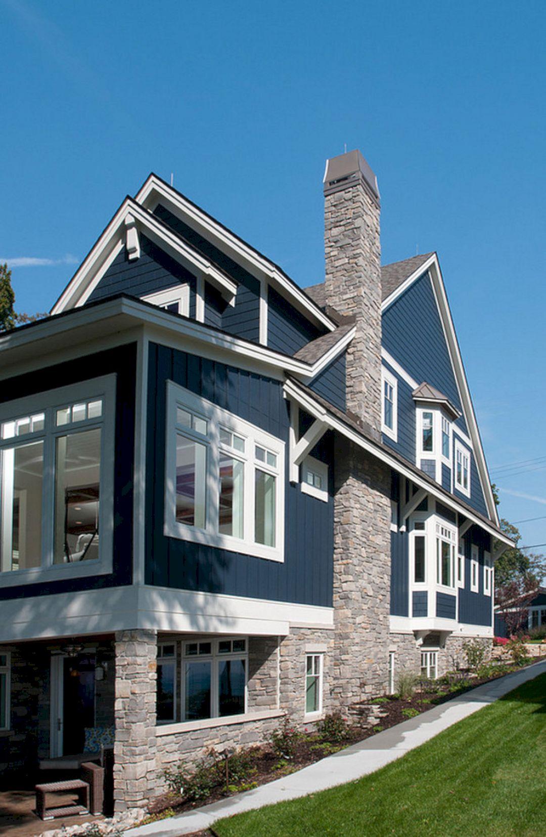 Navy Blue Exterior House Colors Idea