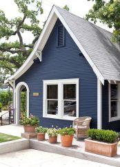 Navy Blue Exterior House Paint Color Design