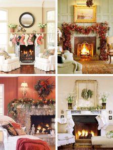 Fireplace Mantel Christmas Decorating
