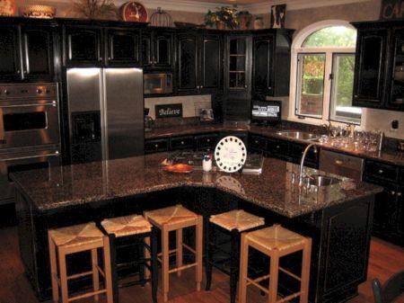 Black Distressed Kitchen Cabinets