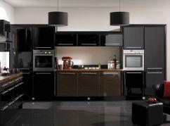 Kitchen With Black Appliances