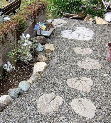 DIY Leaf Stepping Stones