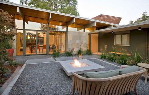 Mid Century Modern Outdoor Fireplace 13