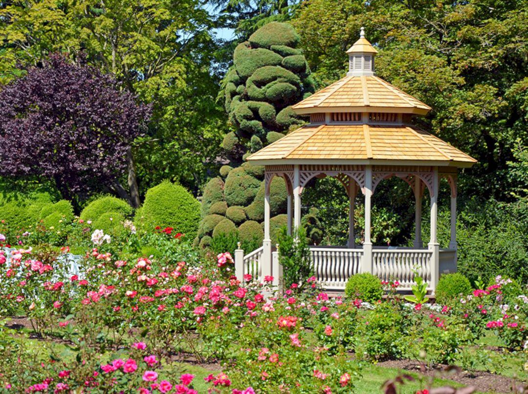 Backyard Flower Garden With Gazebo 1