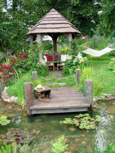 Backyard Flower Garden With Gazebo 13