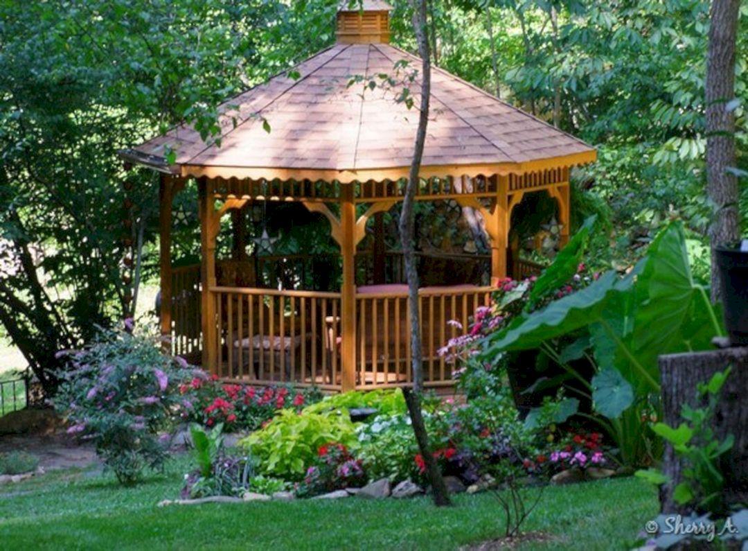 Backyard Flower Garden With Gazebo 16