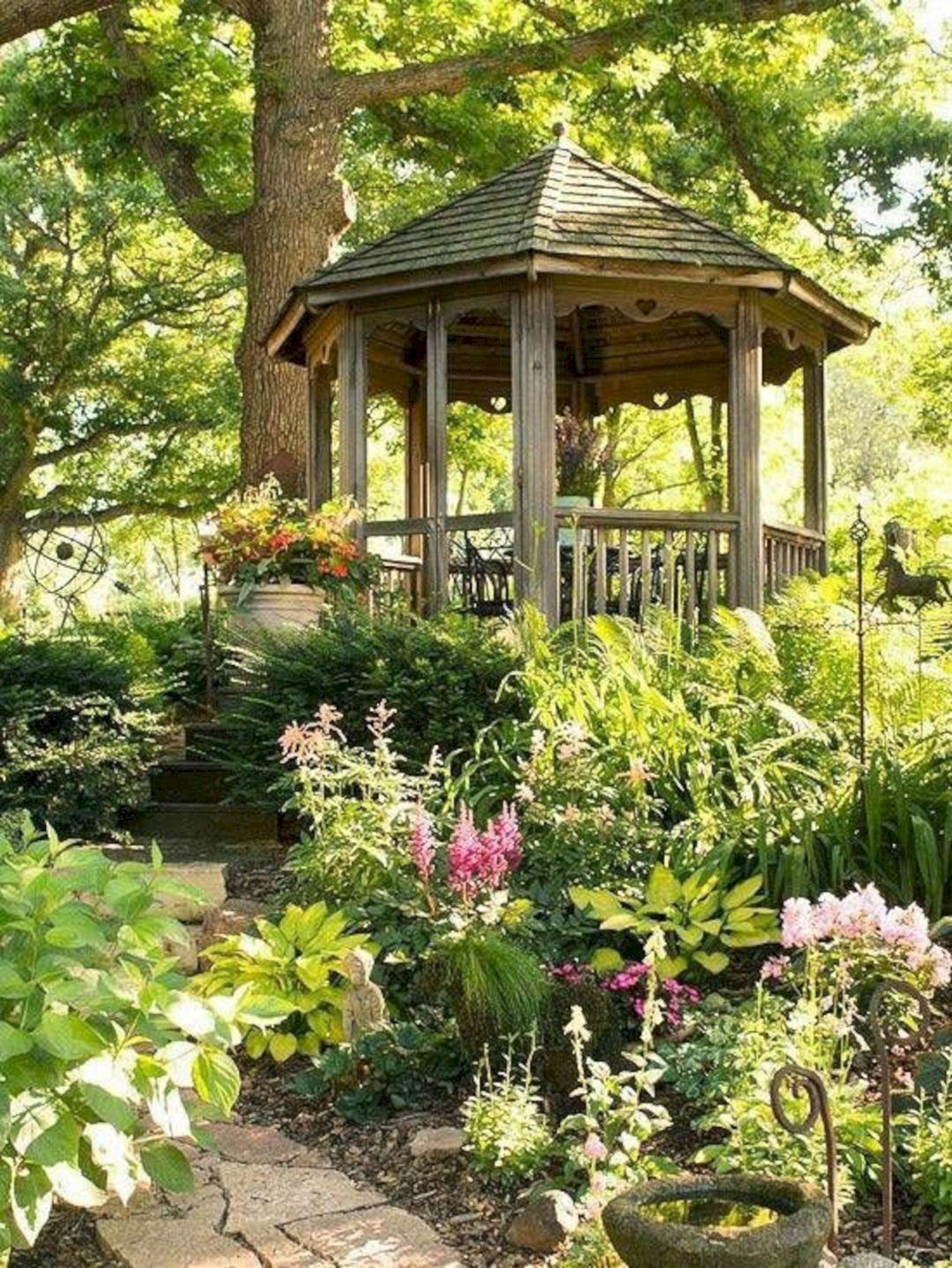 Backyard Flower Garden With Gazebo 21