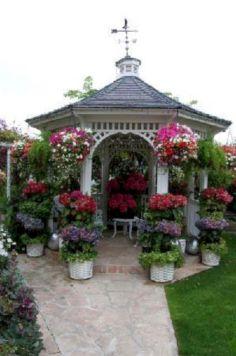 Backyard Flower Garden With Gazebo 23