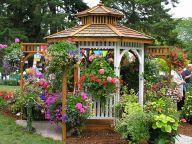 Backyard Flower Garden With Gazebo 26