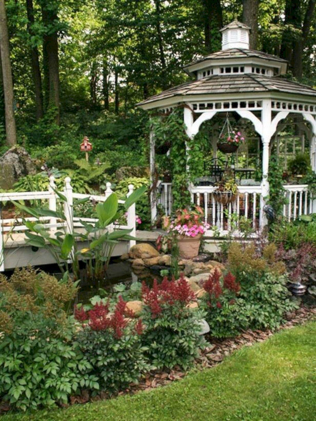 Backyard Flower Garden With Gazebo 27