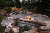 Backyard Patio With Stone Firepit 14