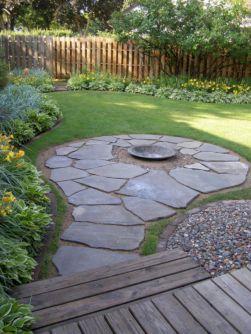 Backyard Patio With Stone Firepit 16